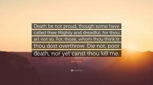 what is the poem death be not proud about